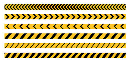 dangers: Police Line, Crime Scene, Do Not Cross, Construction Site and Danger Tape. Set of Vector Seamless Tile Illustrations