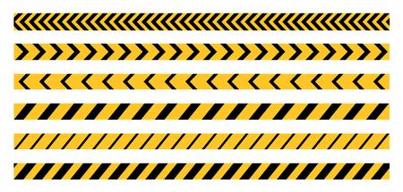 crime scene: Police Line, Crime Scene, Do Not Cross, Construction Site and Danger Tape. Set of Vector Seamless Tile Illustrations