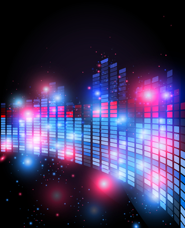 Old retro 80 style of equalizer with 3d perspective effect , night music club life vector concept Illustration