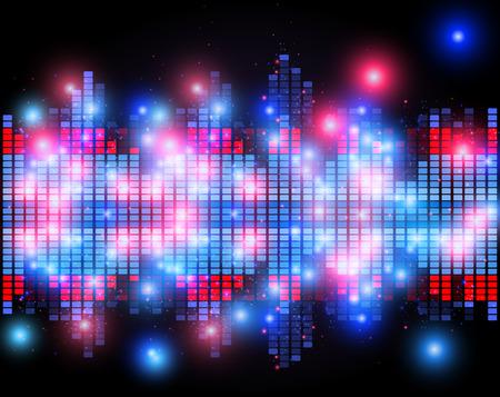 Illustrazione della barra di musica equalizzatore a sfondo lucido Vettoriali