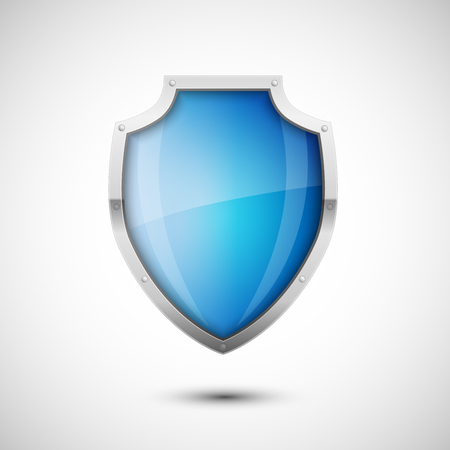 iron defense: Vector Blue Shield, Glossy Protection Concept on White Background