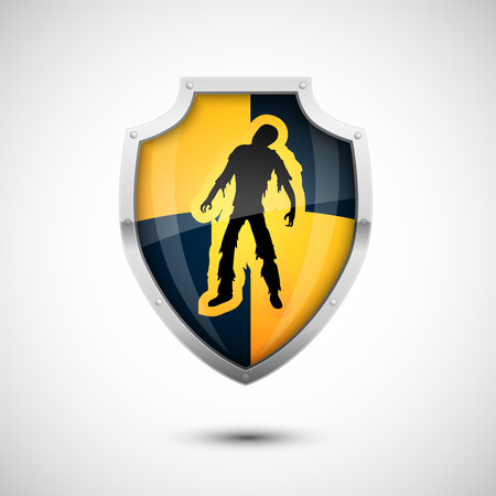 Black Yellow Checkered Style Vector Shield with danger zombie sign, protection concept Illustration