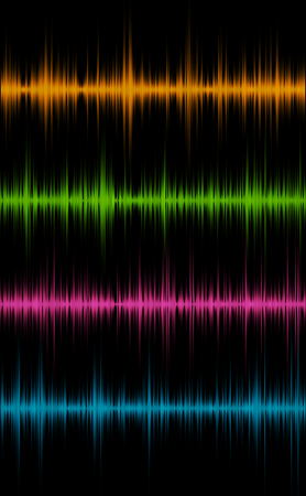 Set of colored music sound waves for equalizer, vector illustration of musical pulse