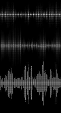 Set of black music sound waves digital equalizer, musical pulse drawed by dots