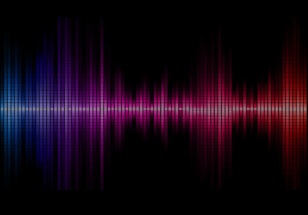 white color: Disco rainbow colored music sound waves for equalizer or waveform design, vector illustration of musical pulse
