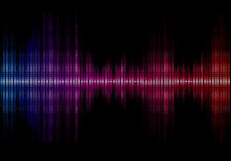 waveform: Disco rainbow colored music sound waves for equalizer or waveform design, vector illustration of musical pulse