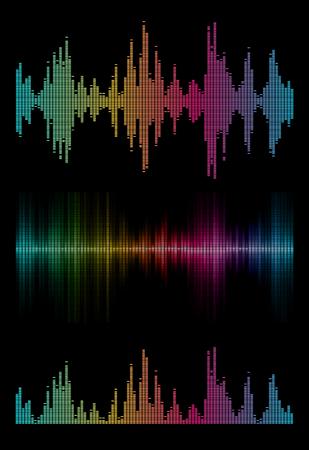 Disco rainbow colored set music sound waves for equalizer or waveform design, vector illustration of musical pulse Illustration