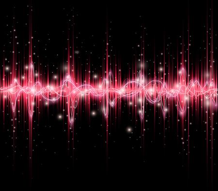 Red colored equalizer or waveform design, vector illustration of musical pulse