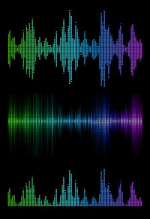 soundtrack: Disco rainbow colored music sound waves for equalizer or waveform design, vector illustration of musical pulse