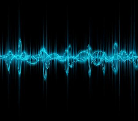 Blue colored music sound waves for equalizer or waveform design, vector illustration of musical pulse