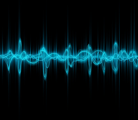 Vagues bleues colorées musique sonores pour égaliseur ou la conception de forme d'onde, illustration vectorielle de l'impulsion musicale Banque d'images - 61580135