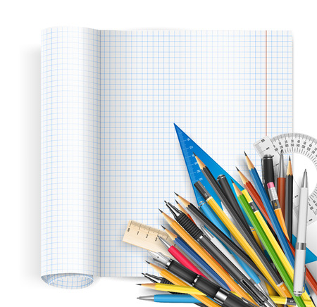 stylo: Back to school theme. Exercise book with math spread and twisted page, ruler pens and pencils. Vector background