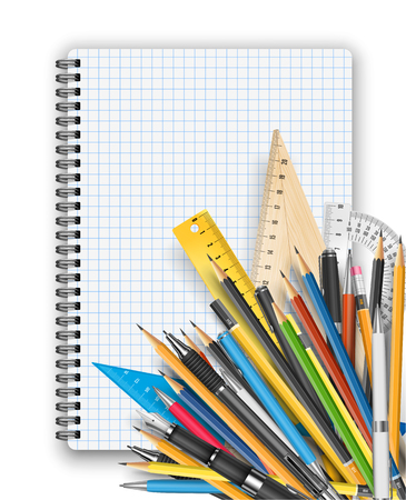 stylo: Back to school theme. Notebook, rulers pens and pencils