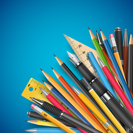 stylo: Education theme vector background template with pen and pencils