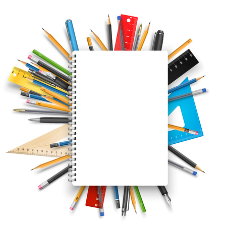 Back to school theme. Notebook rulers pens and pencils. Vector background for education designs Vettoriali