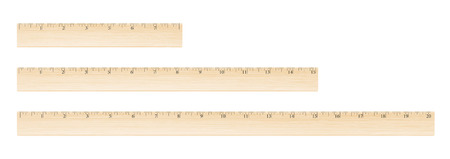 units: Wooden different size rulers 8, 15 and 20 inch long isolated on white background Illustration