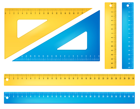 Plastic blue and yellow rulers and triangles. Vector objects