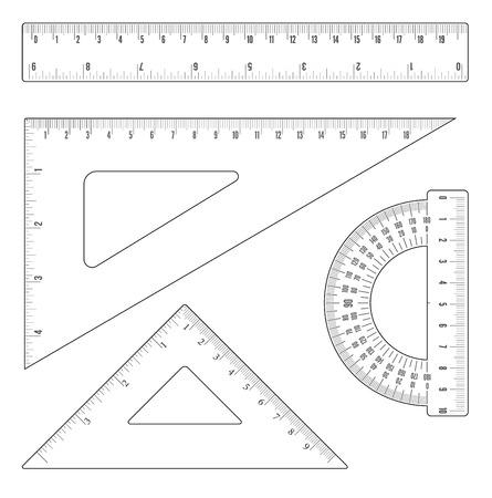 Proste liniowe zarysy linijki i zestaw trójkątów. Obiekty wektorowe Ilustracje wektorowe