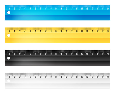 plotting: Rulers in centimeters and millimmeters. Vector illustration set. Illustration