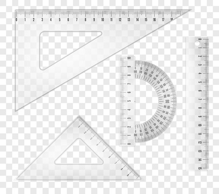 plotting: White transparent rulers and triangles set. Vector objects