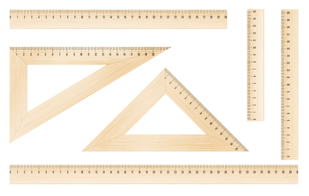 plotting: Wooden rulers and triangles set with metric mm grade. Vector objects Illustration