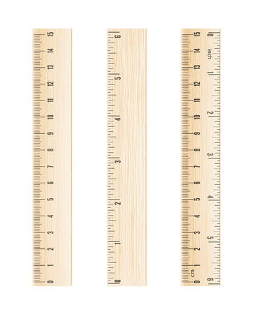 centimeter: Vector wooden rulers in centimeter and inch isolated on white background