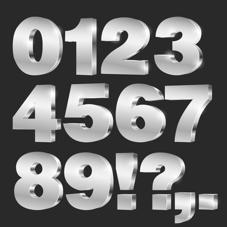 3D vector numbers, set from to 9, metallic chrome on black background 矢量图片