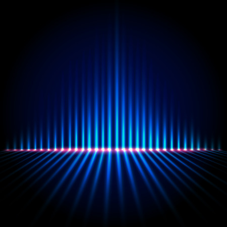 analyzer: Techno perspective equalizer, blue abstract technology vector background