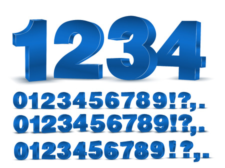 Four set of blue colored 3d vector numbers, from to 9