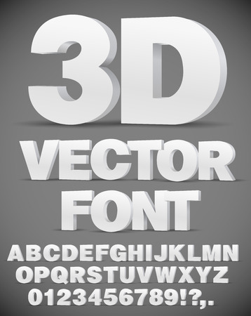 Vector 3D flat style font.