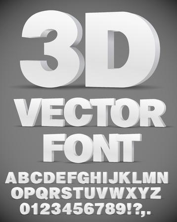 Vector 3D flat style font.
