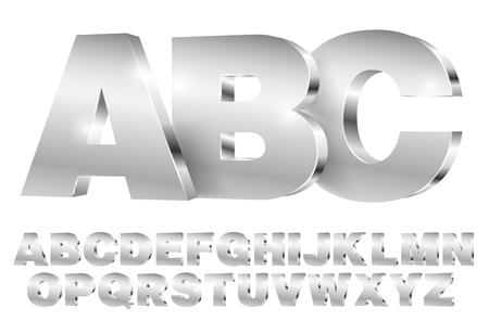 型文字と番号を持つ金属スタイルの 3 D アルファベット ベクトル フォント