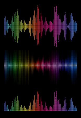 audio wave: Disco rainbow colored music sound waves for equalizer or waveform design, vector illustration of musical pulse