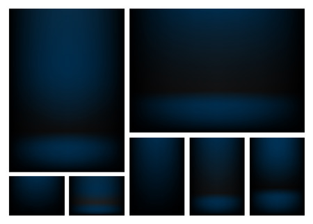 writable: Dark blue gradients for creative project backgrounds or product presentation. Vector backdrop set Illustration