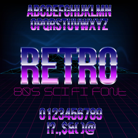 action movie: Retro futurism 80s sci-fi style metallic chrome violet colored bright style action movie vector font set.