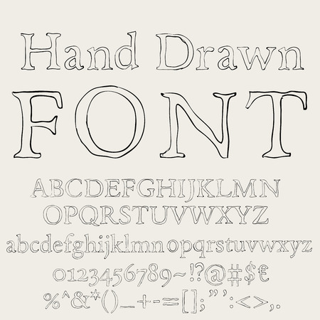 Hand drawn pencil sketched font letters numbers and symbols on a blackboard background