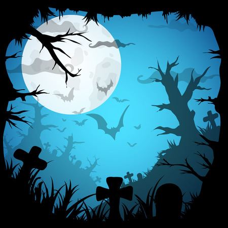 old movie: Halloween Party Blue Old Movie Style  Background. Vector illustration Illustration