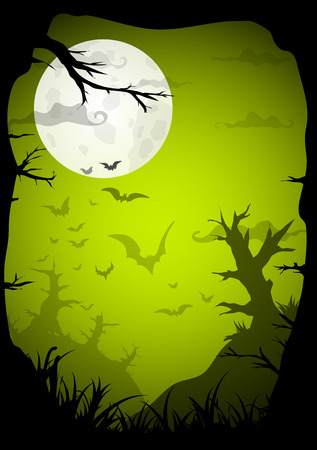 Halloween green spooky a4 frame border with moon, death trees and bats. Vector background with place for text Illustration