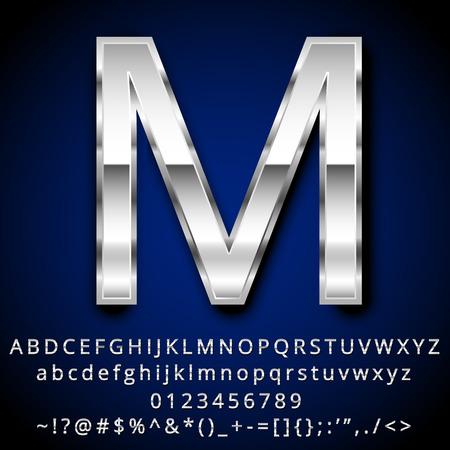 letras cromadas: Vector conjunto de números y símbolos Cartas metálicas Vectores