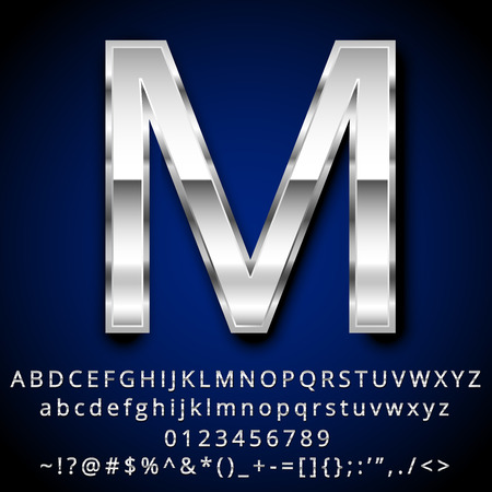 chrome letters: Vector set of Metallic Letters Numbers and Symbols