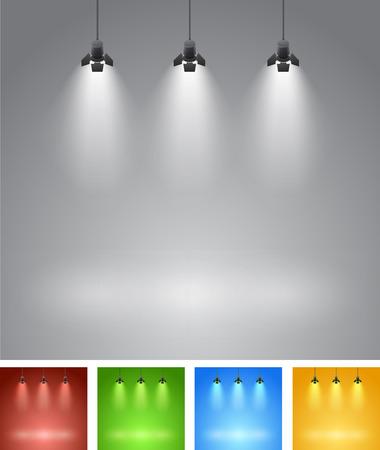 spotlight: Set of studio spotlight background with lamps - vector EPS 10 illustration