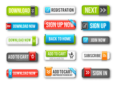 Nice and Fresh Web  Buttons collection for many purposes. Look good on both white and dark backgrounds. Vector set.