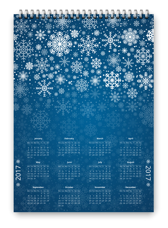 christmass: Snow New Year and Christmass theme with snowflakes Calendar for 2017, week starts Monday. Vector template