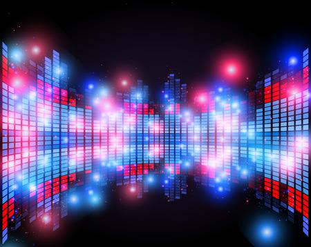 ecualizador abstracto con efecto de perspectiva 3D, música club nocturno vector concepto de la vida
