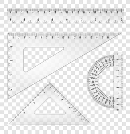 plotting: White transparent rulers and triangles set with both inch and mm grade. Vector objects