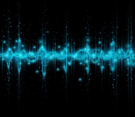 pulse: Blue colored equalizer or waveform design, vector illustration of musical pulse Illustration
