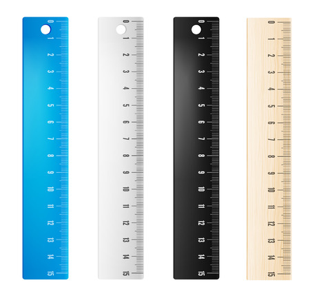 Colored plastic and wooden rulers in millimeters. Vector objects