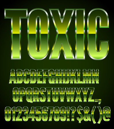 80 s: Vector Green Metal Toxic 80 s Action Movie Style Font Set