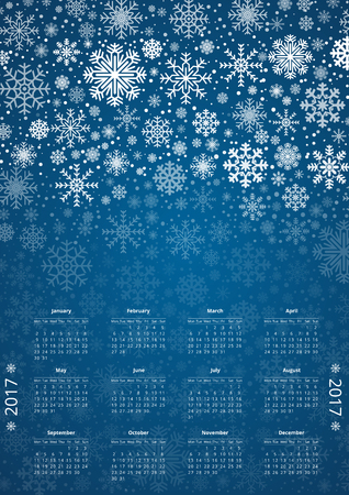 a3: Calendar for 2017, week starts Monday. Vector A4, A3 sizes template snow snowflakes design Illustration