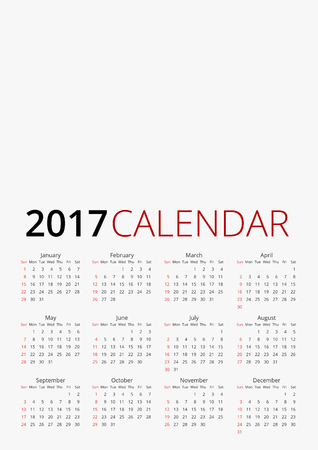 a1: Calendar for 2017, week starts Monday. Vector A4, A3 sizes template on white background Illustration